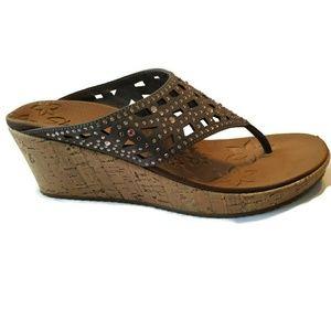 Skechers wedge sandals shoes flip flops 8 bling